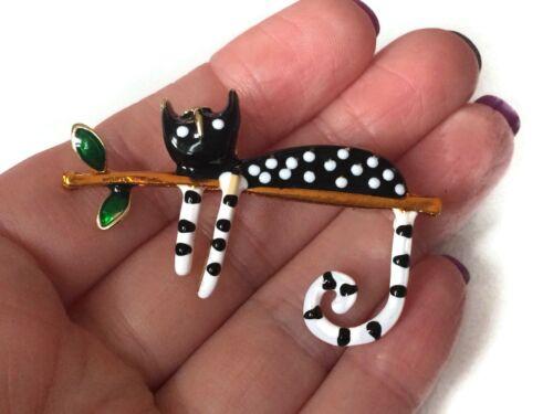 Cat Brooch Pin Badge Enamel Gift Cat Lover White Black Jewellery Kitten Tree
