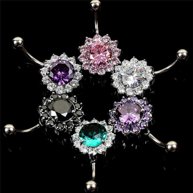 Stainless Steel Bar Belly Navel Ring Crystal Flower Body Piercing Women Jewel TB