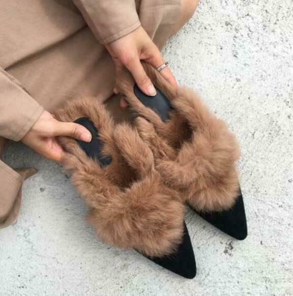 donna Rabbit Fur Lined Pointy Toe Slip On Loafers Mules Warm Flat sautope Outdoor