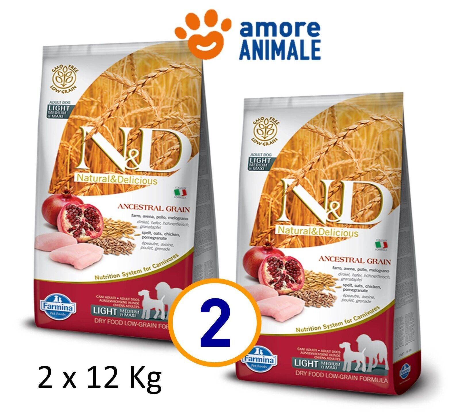 2 SAC   Farmina N&D Low Grain Adult LIGHT Medium Maxi Pollo e Melograno 12 kg