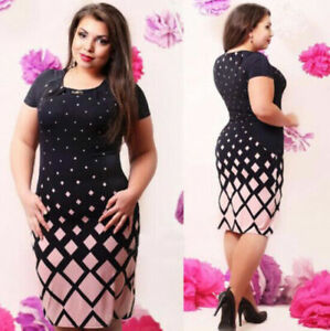 Plus-Size-Women-Short-Sleeve-Bodycon-Casual-Party-Evening-Cocktail-Mini-Dress