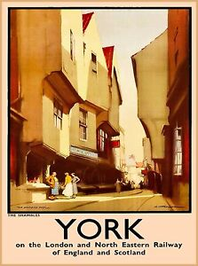 "York ""The Shambles"" Great Britain England Vintage Travel Advertisement Poster"