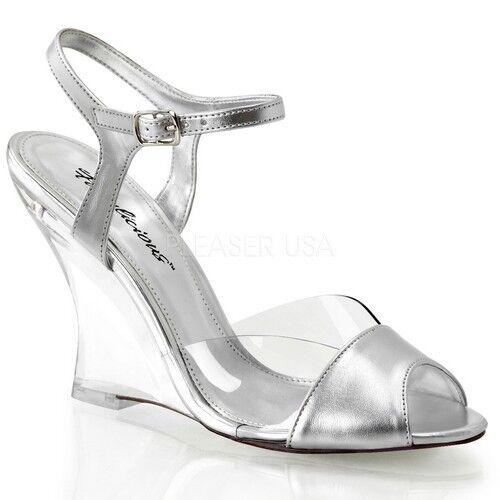 Fabulicieux belle - 442 Chaussures clair-Argent Métallisé Polyuréthane clear wedge talons hauts