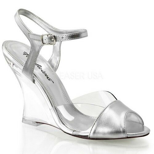 Fabulicious LOVELY-442 Shoes Clear-Silver Metallic Pu Clear Wedge High Heels