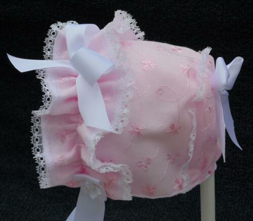 New Handmade Pink Eyelet with Double Lace Front Baby Bonnet