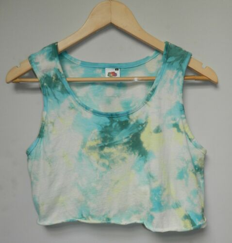 Tie Dye acid wash crop top Grunge vest festival hipster Retro cropped t shirt