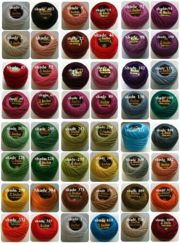 45 Anchor Pearl Cotton Crochet Embroidery Thread Balls Free Postage Worldwide
