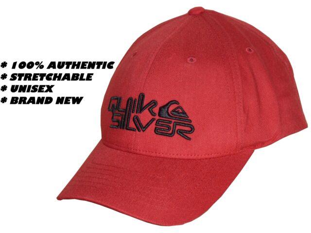 100% AUTHENTIC QUIKSILVER UNISEX RED BASEBALL CAP MENS   WOMENS - FLEXFIT  HAT c132597b6d