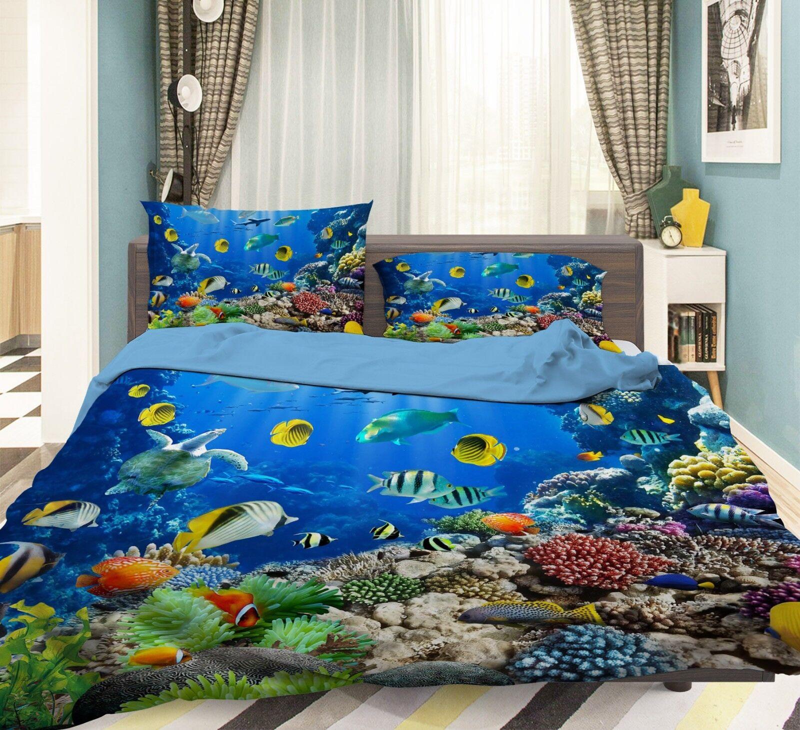 3D Bunte Unterwasser Welt 5 Bett Kissenbezüge steppen Duvet Decken Set Single DE