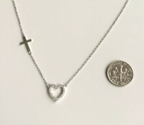 """Argent Sterling 925 cœur avec Croix Collier 18/""""//cadena de PLATA Corazon y Cruz"""
