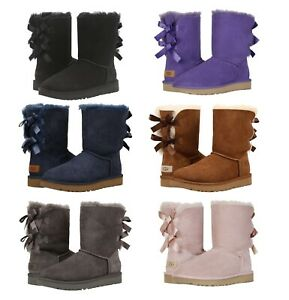 NEW-Authentic-UGG-Women-039-s-Bailey-Bow-II-Winter-Boots-Shoes-Black-Chestnut-Blue