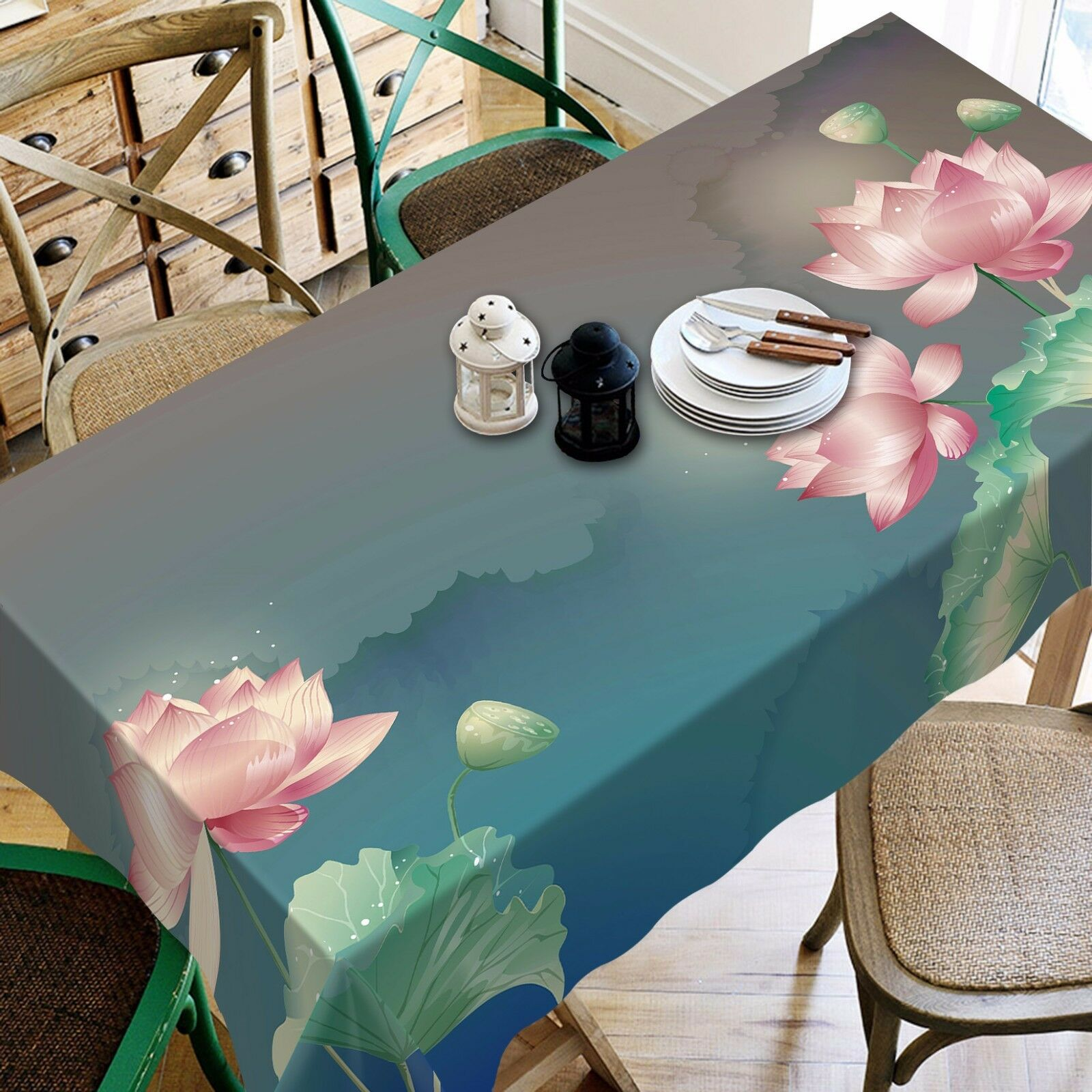 3D Lotus 4002 Tablecloth Table Cover Cloth Birthday Party Event AJ WALLPAPER AU