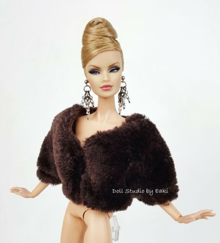 Brown Cream Fur Jacket Outfit Gown Silkstone Barbie Fashion Royalty Licca Blythe