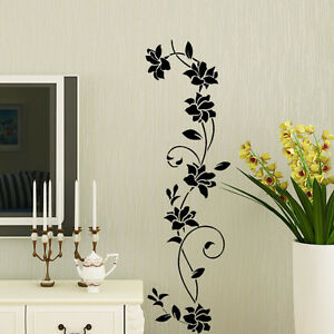 Removable Black Ratten Flower Home Room Decor Wall