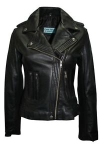 Jacket Nappa Real Stylish Italian Leather Black Design Luxury Style Ladies Biker qCwE7IH
