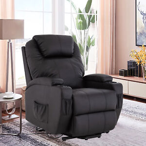 Image Is Loading Power Lift Chair Real Leather Recliner Armchair Elderly