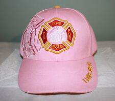 HAT BALL CAP WOMAN GIRL PINK FIREMAN DEPARTMENT ON FIRE FOR JESUS RELIGIOUS