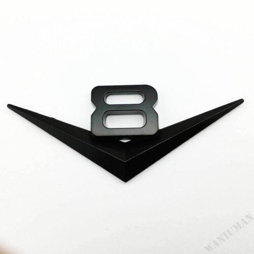 Auto Car Rear Black V8 Logo Chrome Metal Emblem Badge Decal Sticker Vintage