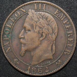 1862-K-France-5-Centimes-Bronze-Coins-KM-Coins