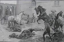 1898 Two Large Antique Prints - Battle of Omdurman, Sudan - 21st. Lancers Horses