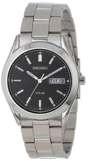 53e55f734c82 Seiko Men s Sne039 Stainless Steel Solar Watch Black Dial for sale ...