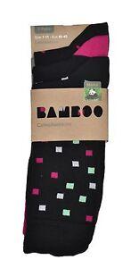 Men/'s 100/% Bamboo Socks 3-Pair Pack Multi Colour//Style