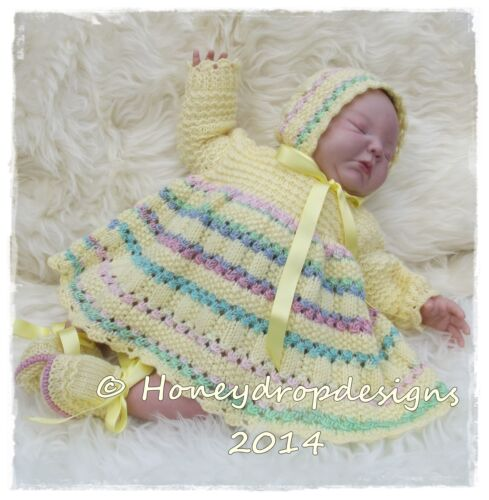 """REBORN BABY PAPER KNITTING PATTERN 4 Sizes HONEYDROPDESIGNS /""""POPSICLE/"""""""