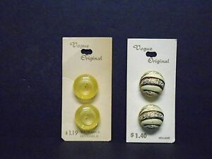 Vintage-Sewing-Buttons-2-Cards-VOGUE-7-8-034-Made-in-Japan-amp-Holland-NOS