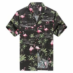 Made-in-Hawaii-Men-Hawaiian-Aloha-Shirt-Luau-Beach-Cruise-Pink-Flamingos-Black