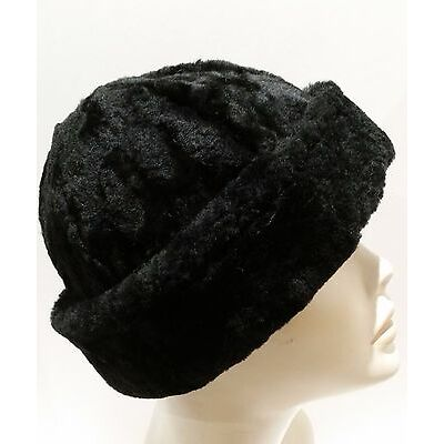 NEW! Black Russian Beanie Sheepskin Shearling Round Winter Fur Hat Real Leather