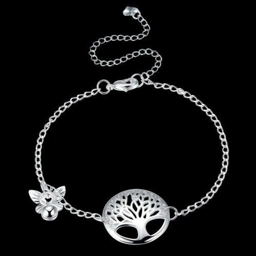 925Sterling Silver Fashion Jewelry Lovely Life Tree Woman Anklets Bracelet A097