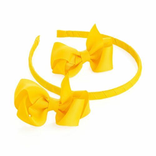 2 Ruban Jaune arcs et Cheveux Bande Bandeau Set