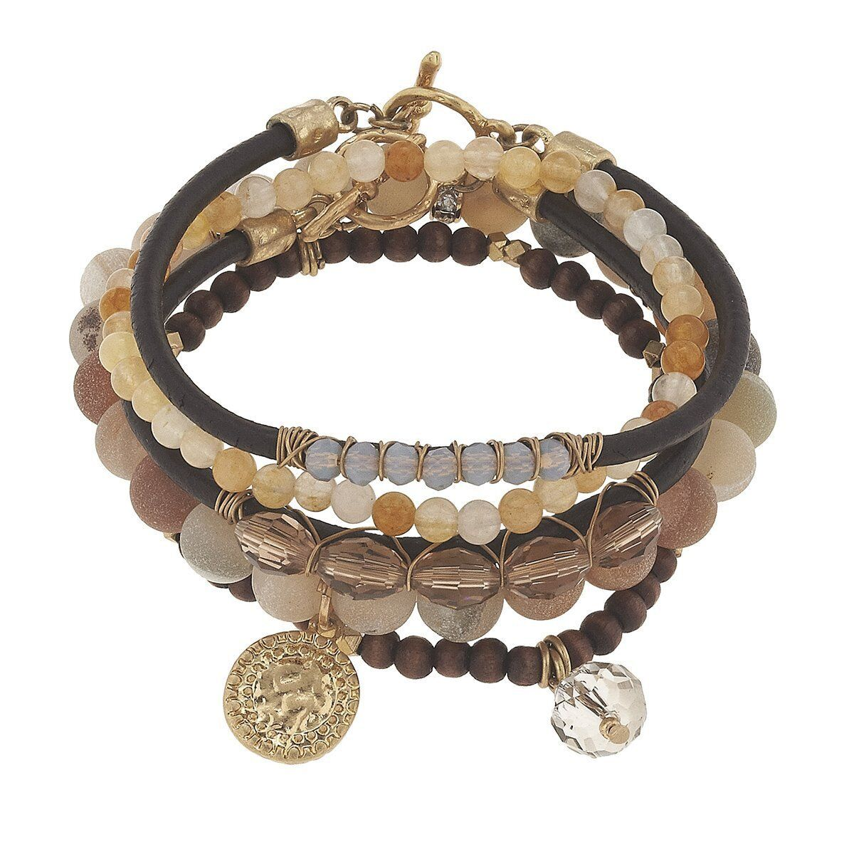 Canvas 5-Row Gemstone Bracelet with Brown Agate (10500)