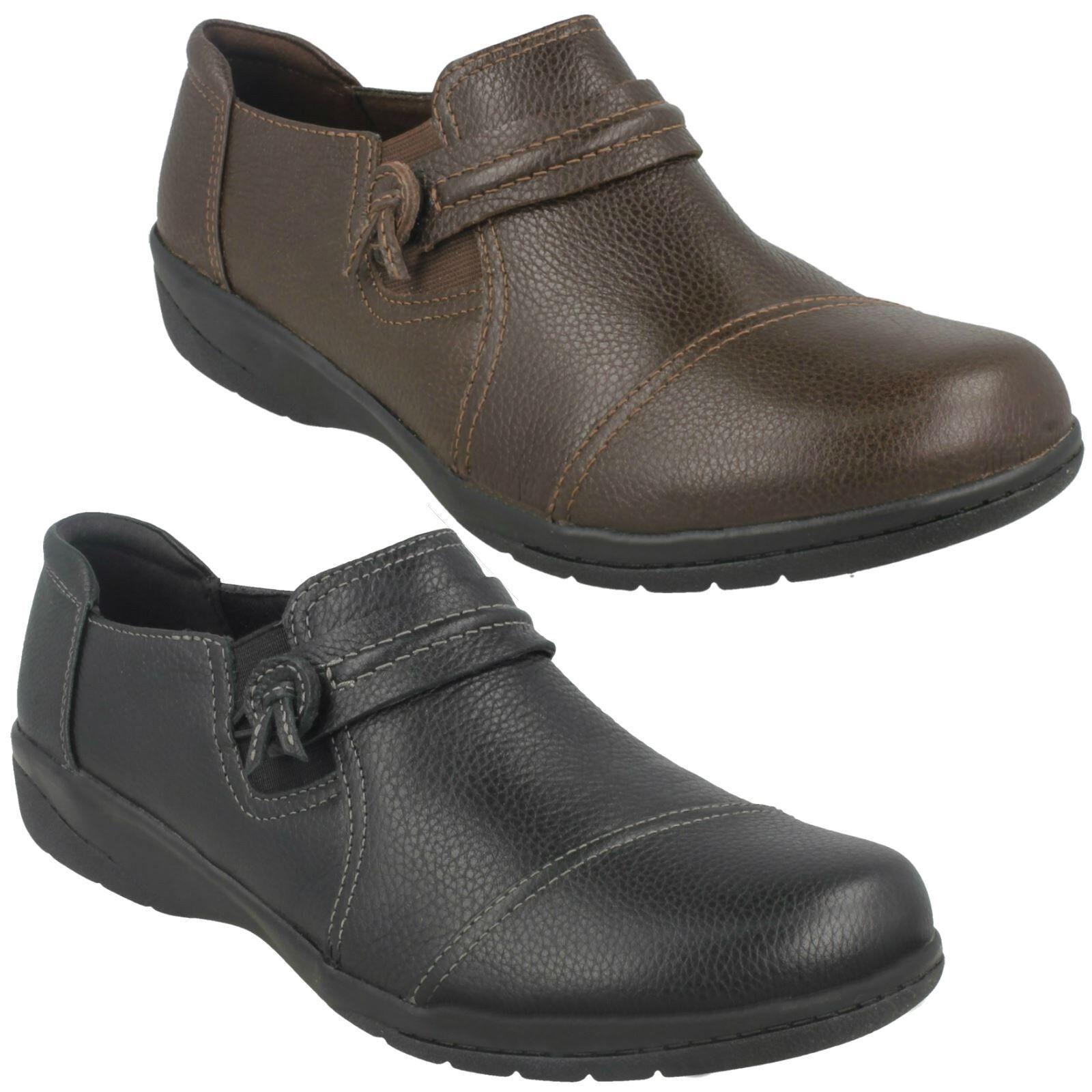 Femmes Clarks cuir large à enfiler décontracté plat Pantalon Chaussures Pointure