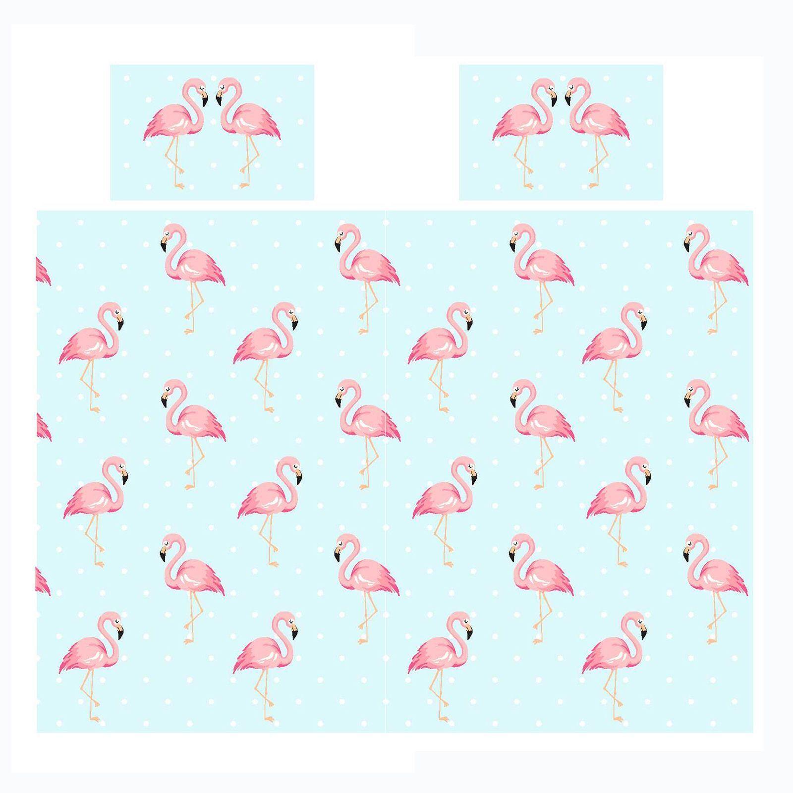 Fifi Flamant Rose Set Housse de Couette Double Enfants Filles + Rideaux Assortis