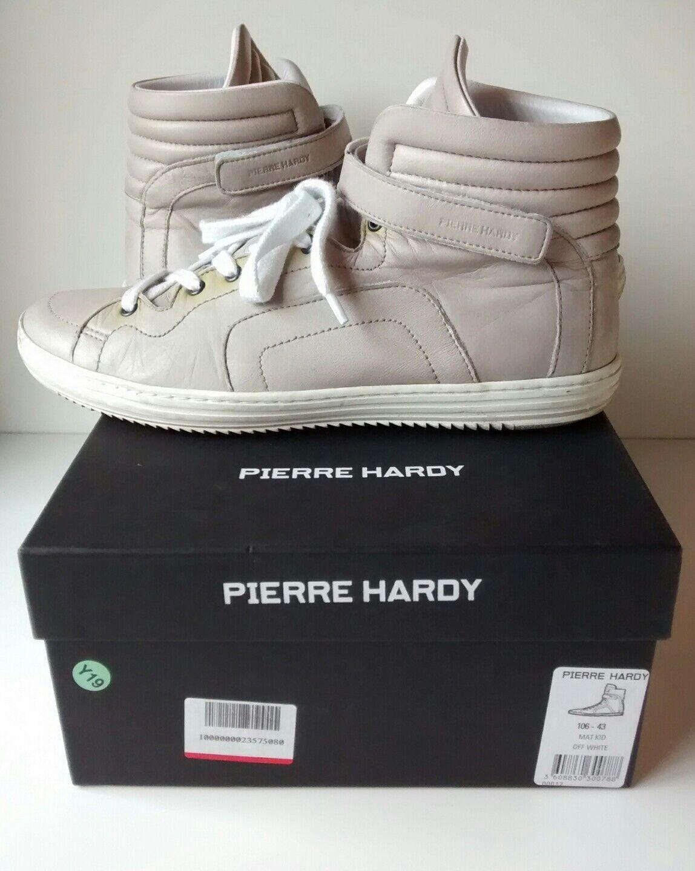PIERRE HARDY-MAT KID-Bianco 43 sporco-in Pelle-Hi Tops-EU 43 KID-Bianco 685915