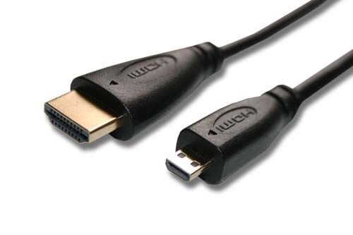 White Silver Original VHBW ® cable micro HDMI 1.4a 5m para GoPro Hero 4 Black