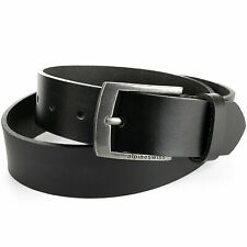 "Alpine Swiss Mens Leather Belt Slim 1 1/4"" Casual Jean Dakota Signature Buckle"