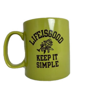 Life-Is-Good-Coffee-Mug-Cup-Green-Kitchen-Accessories-039-Keep-it-simple-039