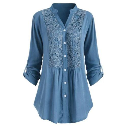 Women Button Lace V Neck Long Sleeve Shirt Tunic Tops Blouse Size S-5XL DZ