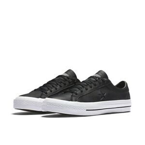 e4cf82e04b6b Men s Size 9.5 Converse One Star OX Black Leather Low Top Shoes CONS ...