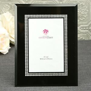 Black Glass Frame with Silver - Gift Favors / FC-12053