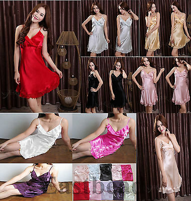 Super Soft Silk Sexy Women Sleepwear Pajamas Pyjamas Nightgown 10 Colors 3 Size