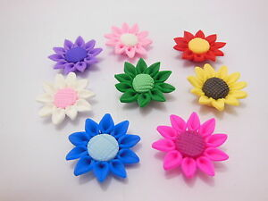 20-Fimo-Beads-Sunflower-Jewellery-Finding-30mm-Dia-Mixed
