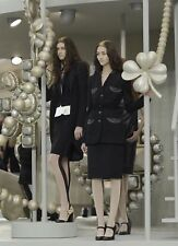 Amazing Chanel 08A Black Wool Jeweled Iconic 2-piece skirt suit F 44 UK 16 US 12