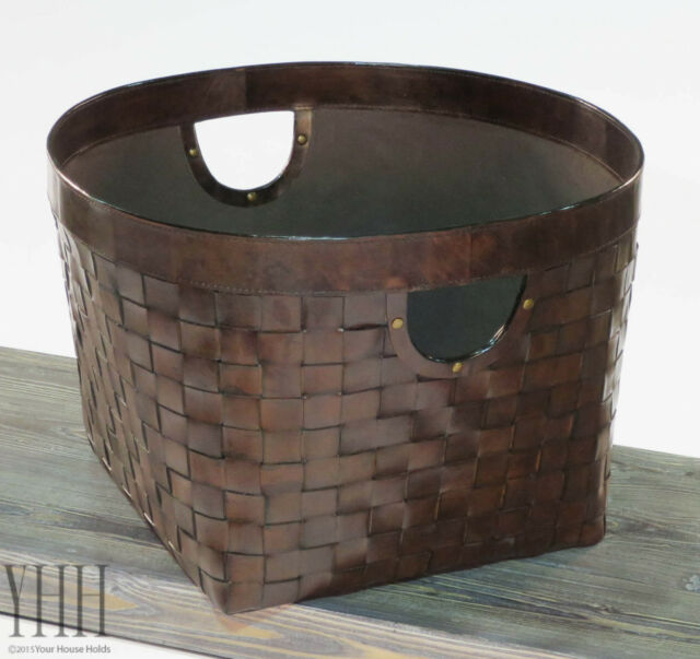 Woven Leather Basket by Sarreid