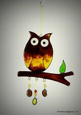 Owl on a branch Suncatcher window ornament or garden mobile FREE SHIPPING