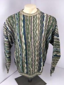 90s VTG COOGI Australia blau grün-BIGGIE Bill Cosby Pulli EUC Feuer L vaporwave