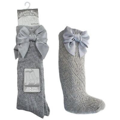 Soft Touch Infants Babys Knee Socks Baby Girls Knee Length White Socks//White Bow, 0-3 Months