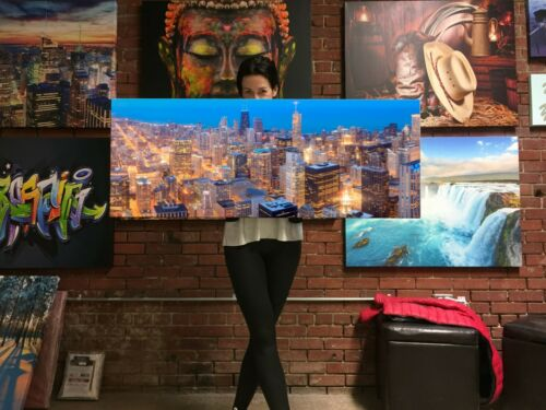 Chicago skyline panorama in twilight Canvas Print Huge Framed Wall Art Decor